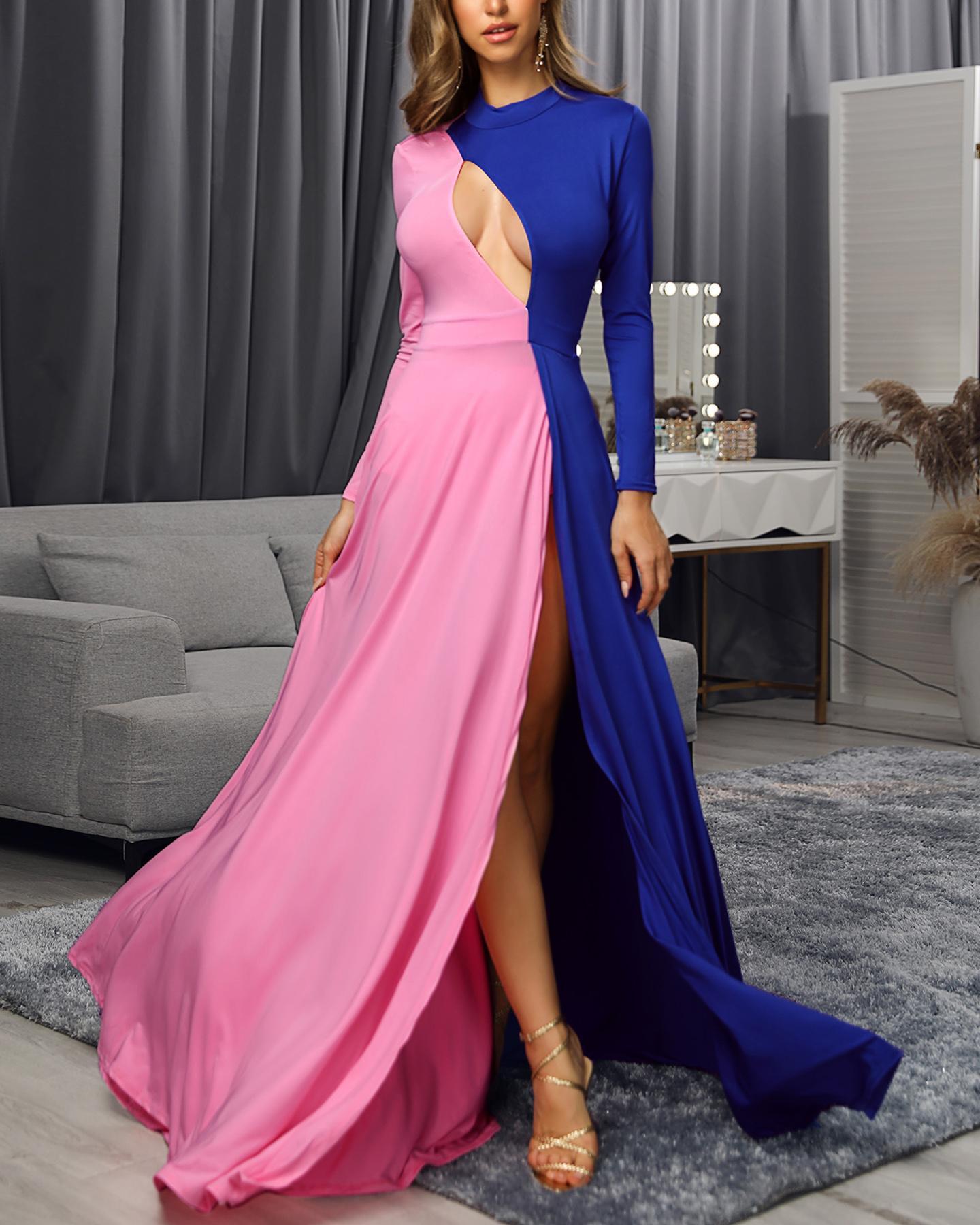 Colorblock Long Sleeve High Slit Maxi Dress фото