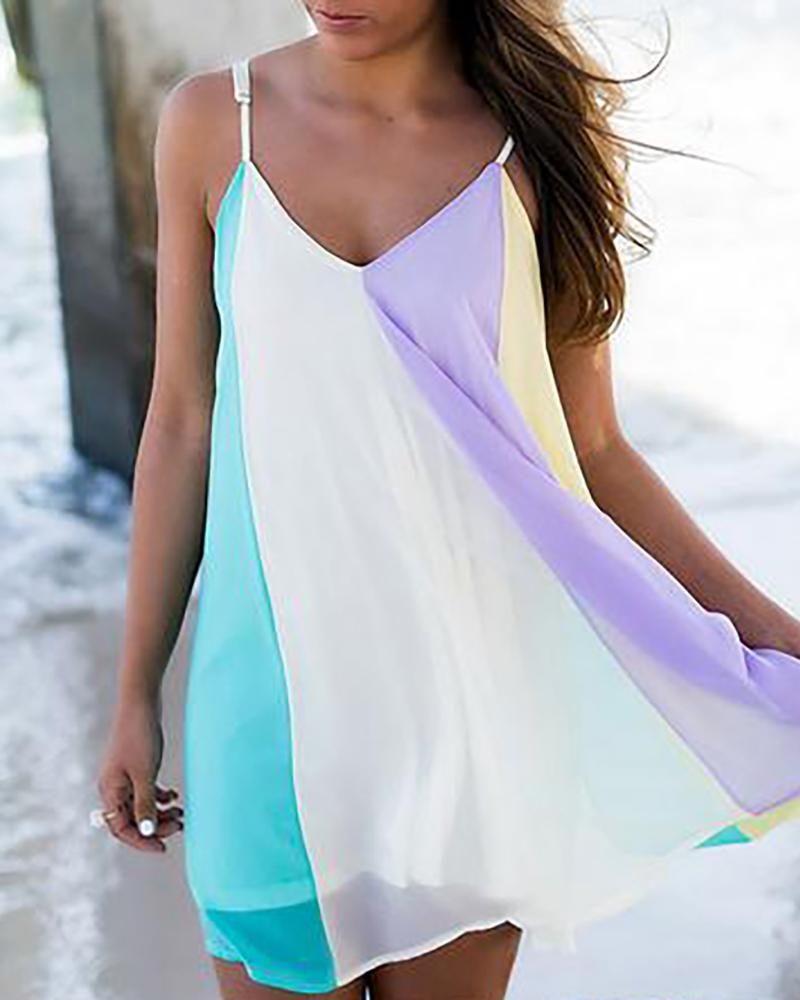 boutiquefeel / Vestido con cuello en V y correa de espagueti de color block