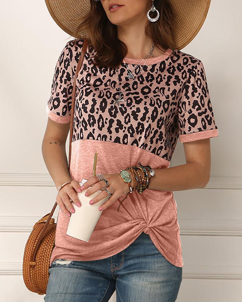 Leopard Print Twisted Casual T-shirt фото