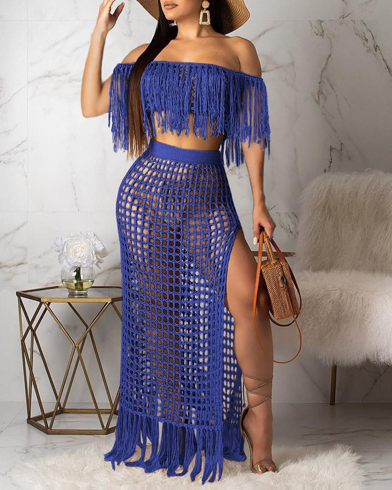 Short Sleeve Tassels Cover Up фото