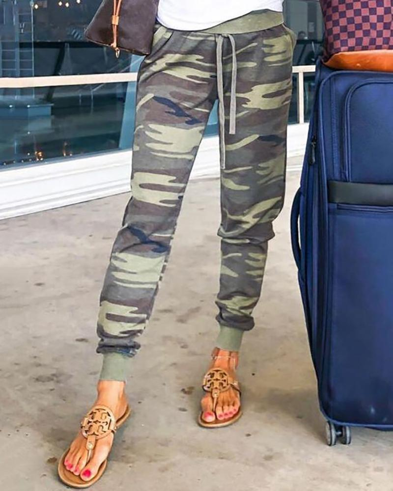 Camouflage Drawstring Casual Pants фото