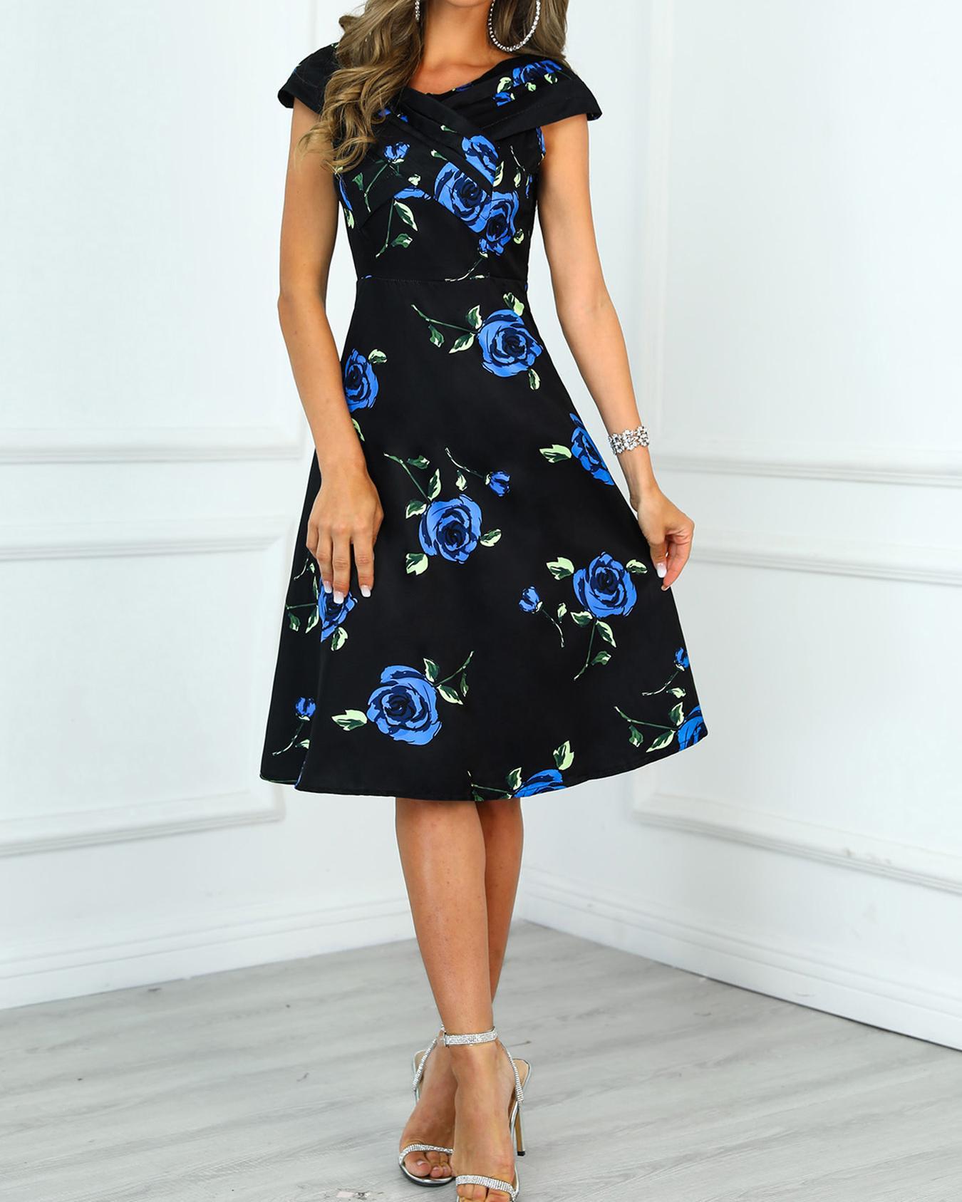 Crisscross Front Floral Print Dress