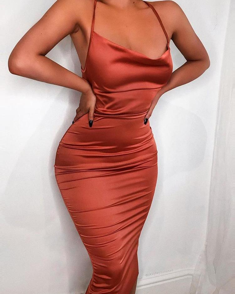 Drape Neck Ruched Slinky Party Dress фото