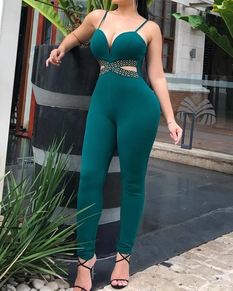 Criss Cross Cut Out Waist Jumpsuit