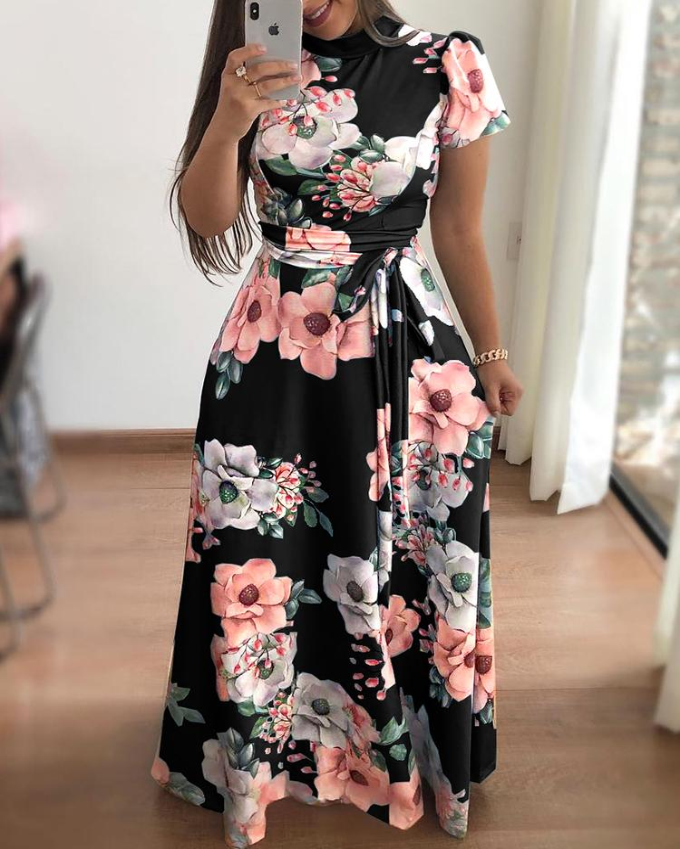 Floral Print Short Sleeve Tie Waist Maxi Dress фото