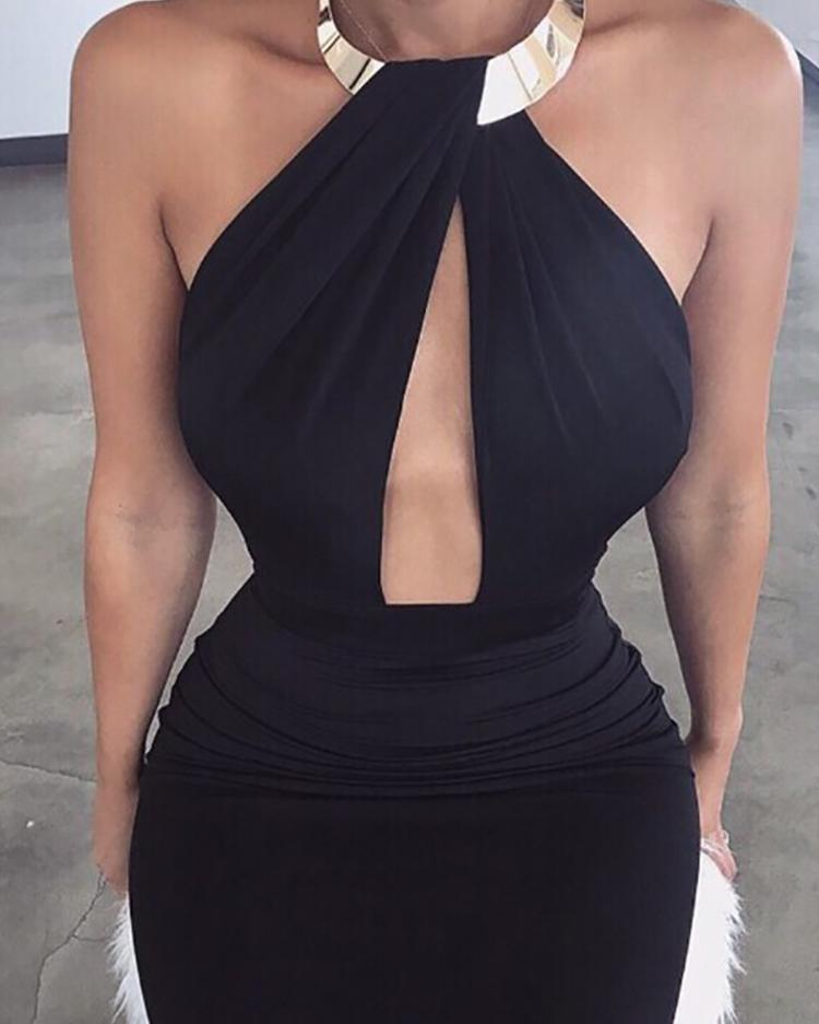 Halter Cutout Open Back Bodycon Dress фото