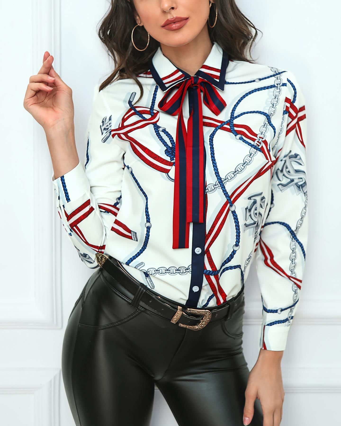 chicme / Camisa de manga larga bowknot estampado de cadena