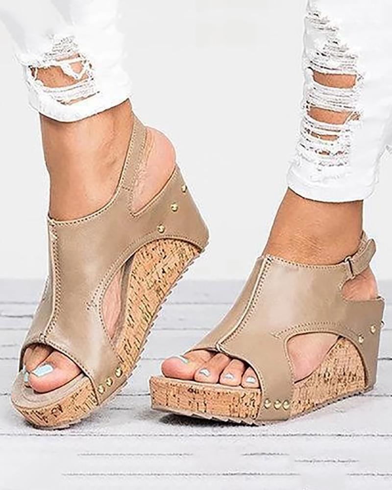Peep-toe Slingback Platform Wedge Sandals