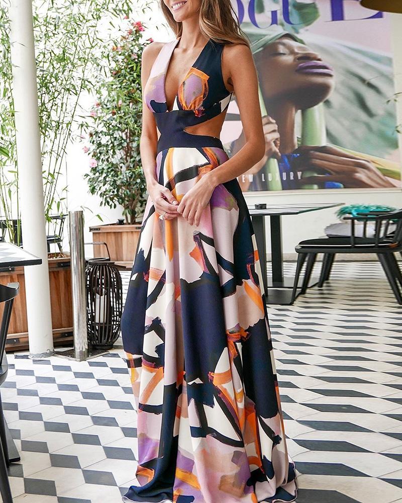 ivrose / Plunge Print Cutout Waist Maxi Dress