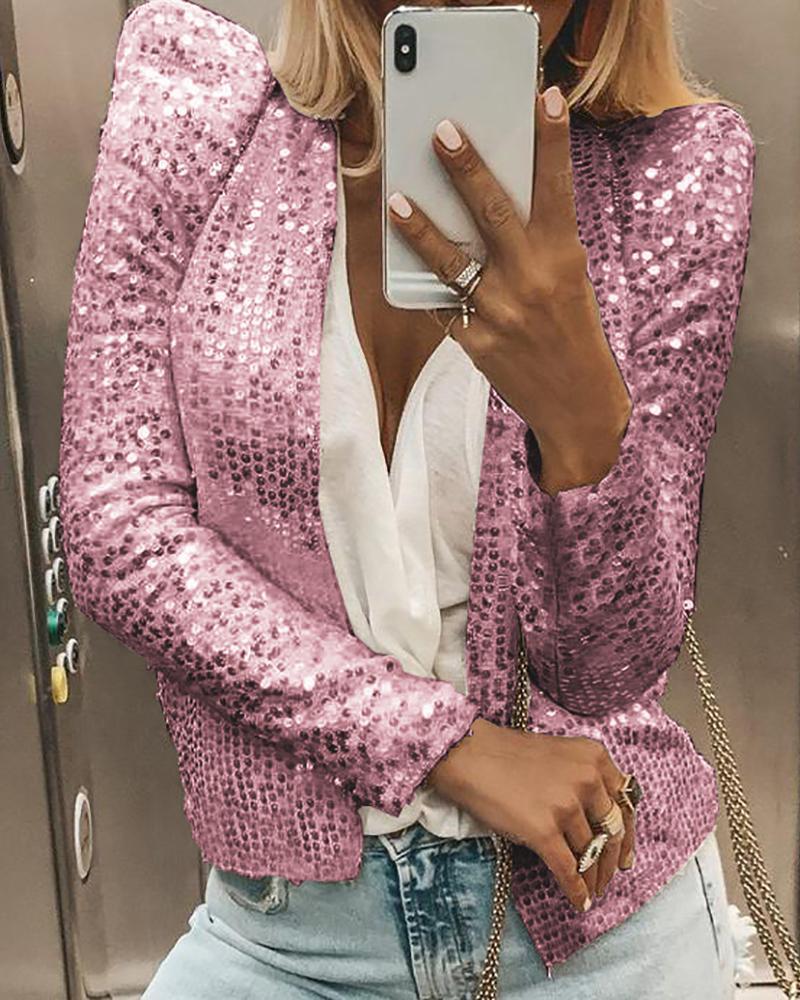 Glitter Open Front Puff Sleeve Sequins Coat фото