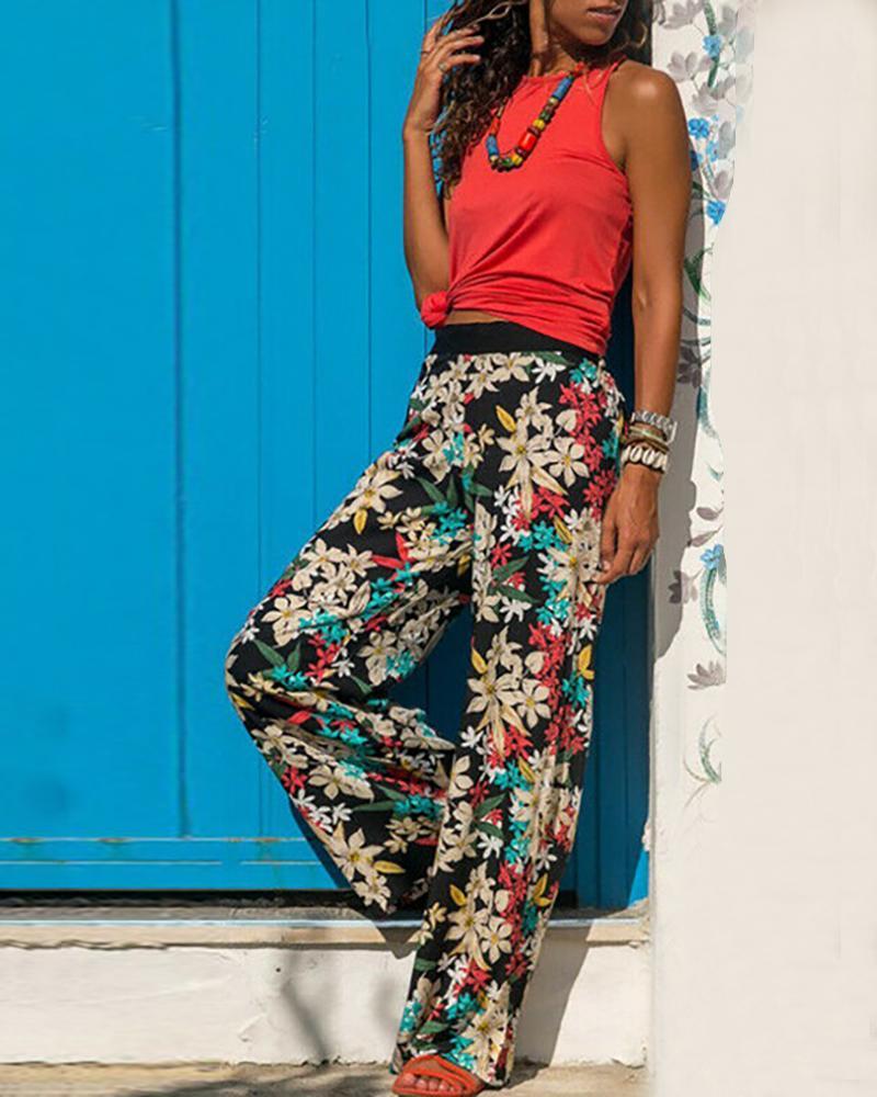 High Waist Floral Print Casual Pants фото