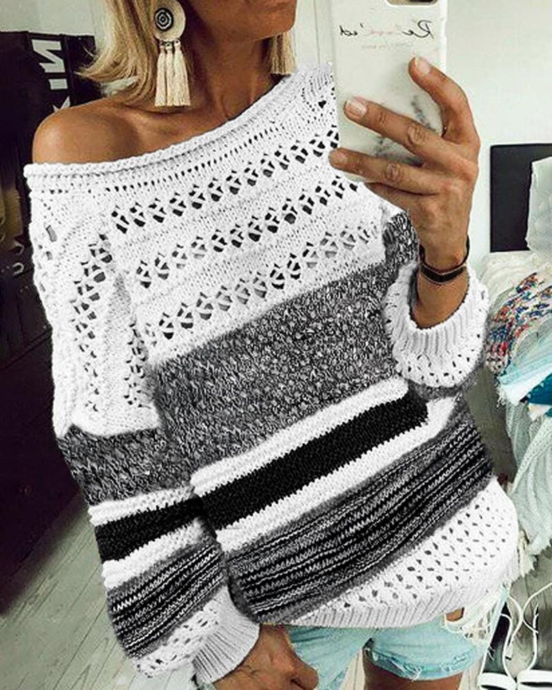 Striped Colorblock Hollow Out Knit Sweater фото