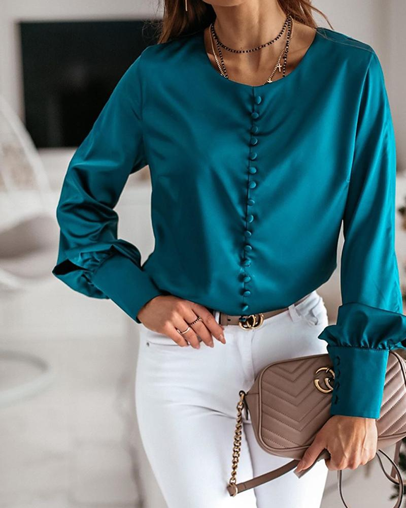 Solid Button-Up Satin Blouse фото