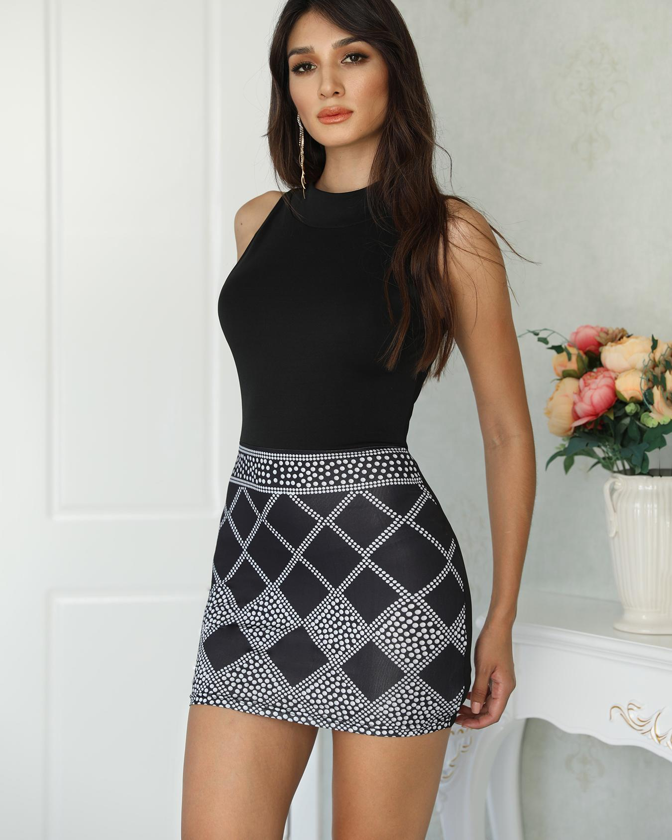 Sleeveless Dots Print Bodycon Mini Dress фото