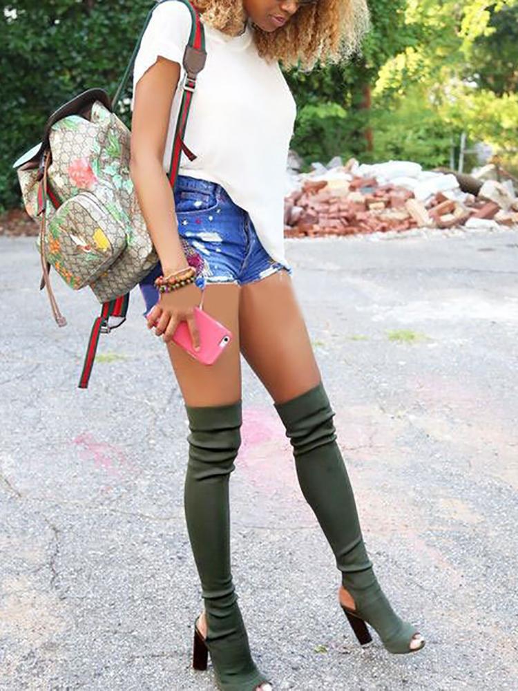 ivrose / Stylish Open Toe Slingback Chunky Heeled Boots