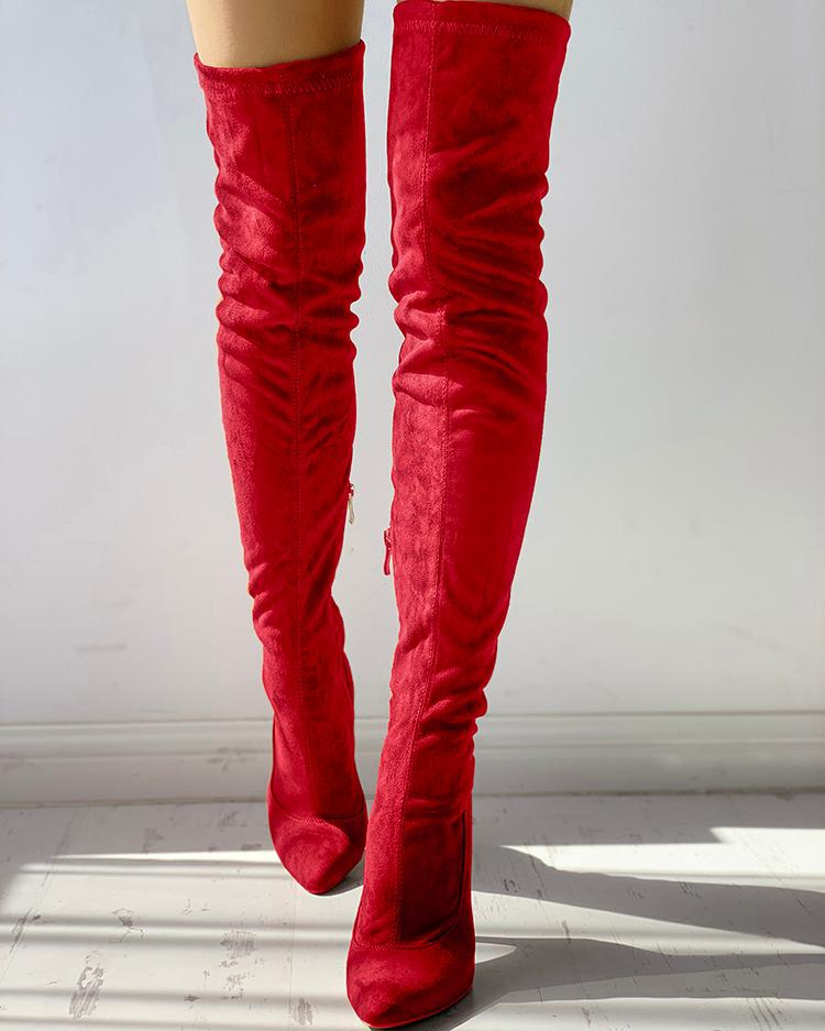Knee-High Pointed Toe Heels Red Boots фото