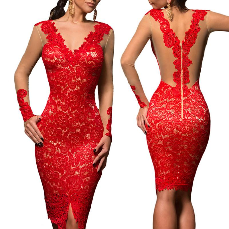 Alluring V Neck Lace Applique Bodycon Dress