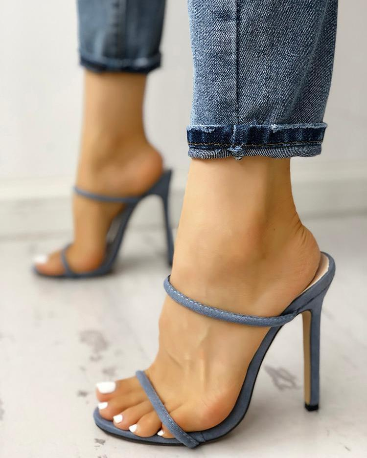 Concise Double Strap Thin Heeled Sandals joyshoetique