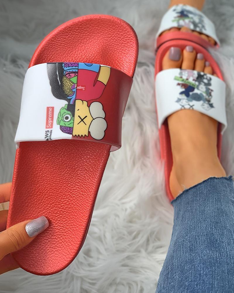 Cartoon Pattern Non-Slip Flat Sandals фото