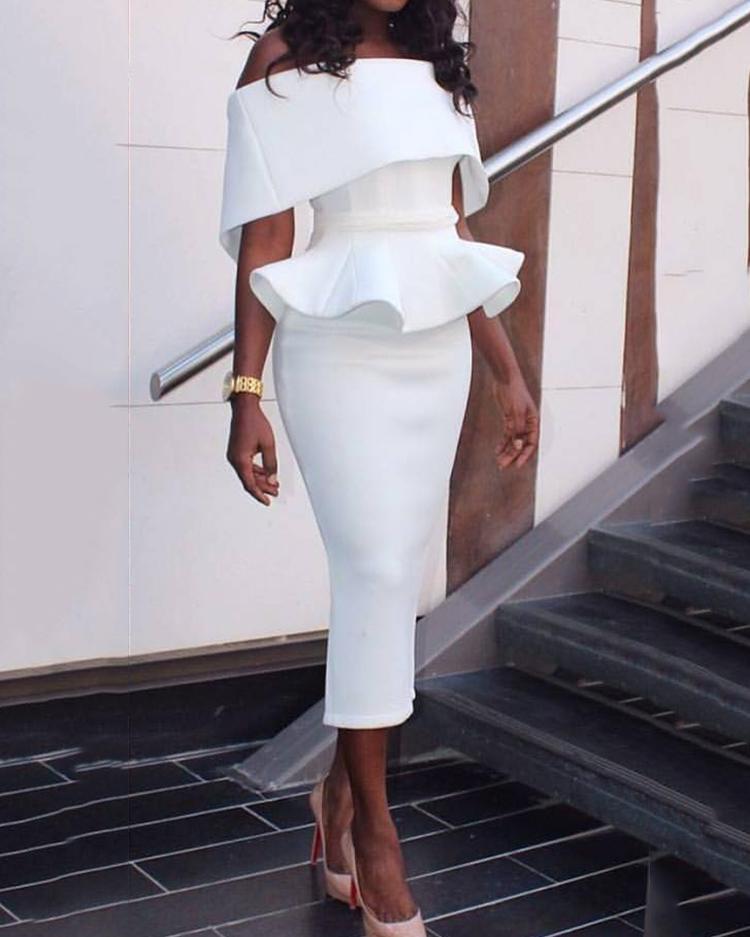 Women Slash Neck Fold-over Shoulder Peplum Bodycon Dress фото
