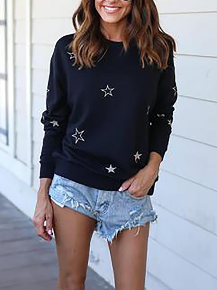Street Style Star Print Casual Sweatshirt