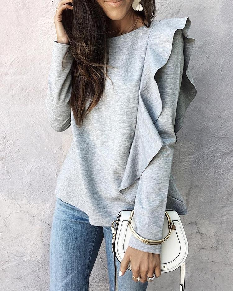 Solid Frilled Casual Blouse фото