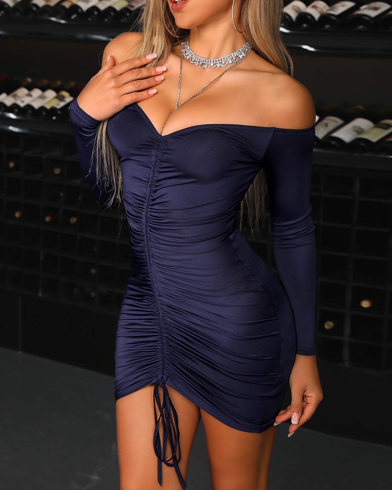 Off Shoulder Drawstring Design Bodycon Dress
