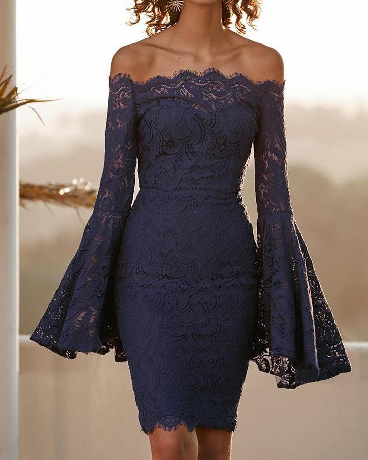 Off Shoulder Flared Sleeve Lace Bodycon Dress