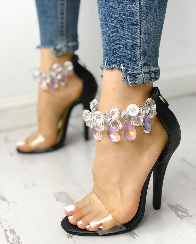 boutiquefeel / Sandalias finas de tacón alto con diseño claro brillante