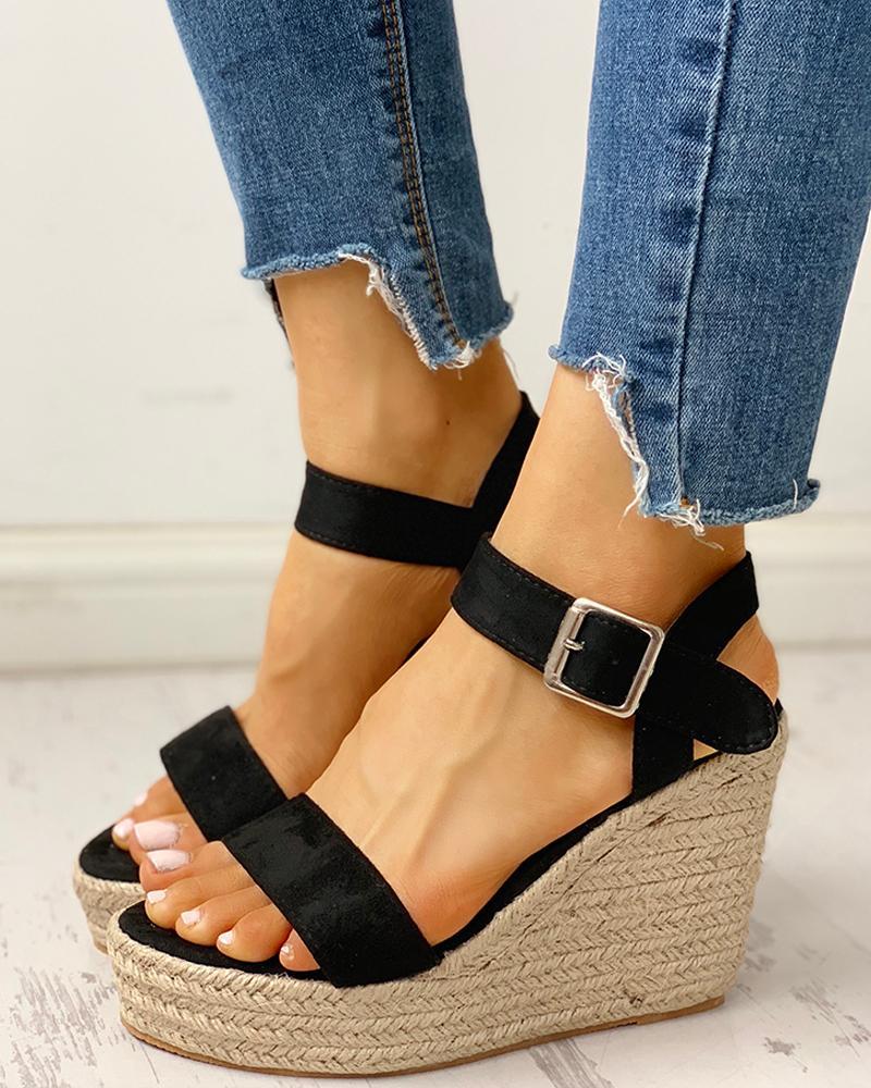 ivrose / Open Toe Espadrille Wedge Sandals