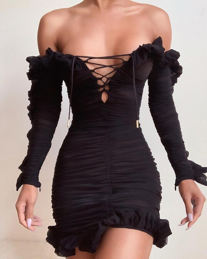 Solid Lace-Up Off Shoulder Ruffles Ruched Dress, Black