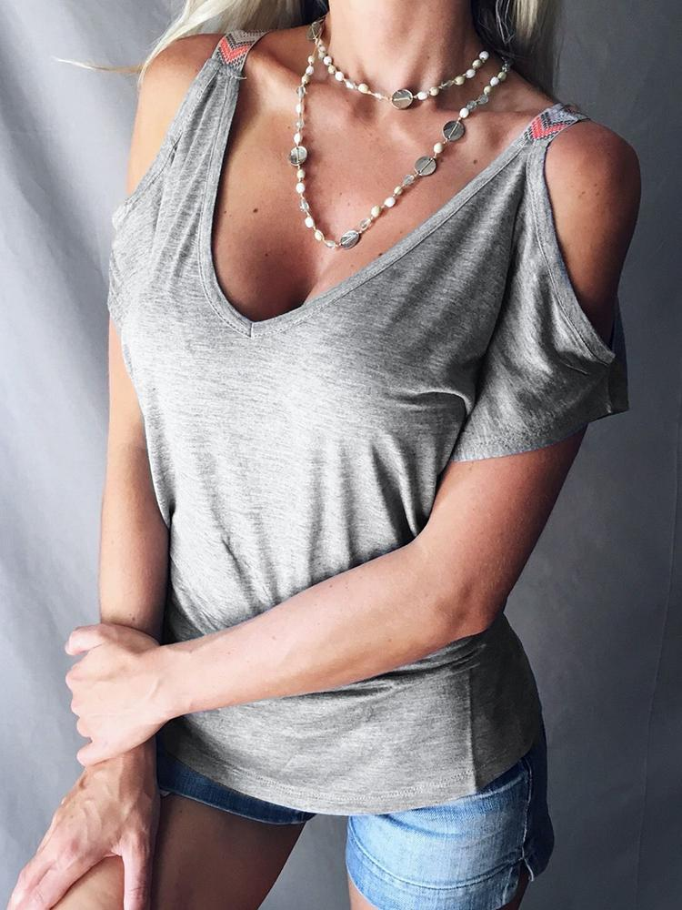Fashion Solid Low Cut Cold Shoulder Casual T-shirt
