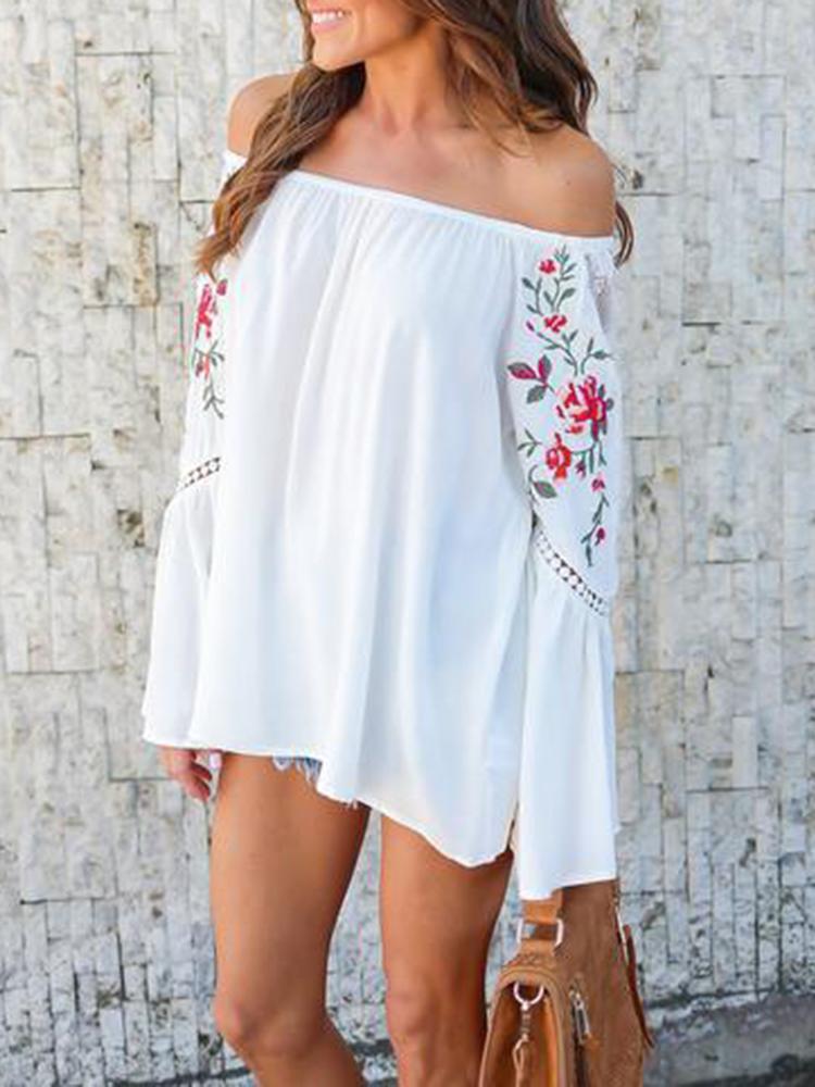 Fashion Floral Off Shoulder Casual Blouse