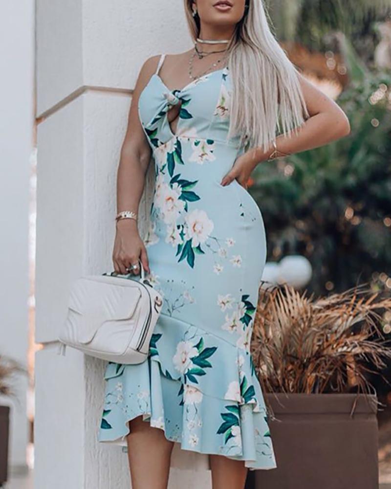 ivrose / Sexy Floral Print Sling Long Dress