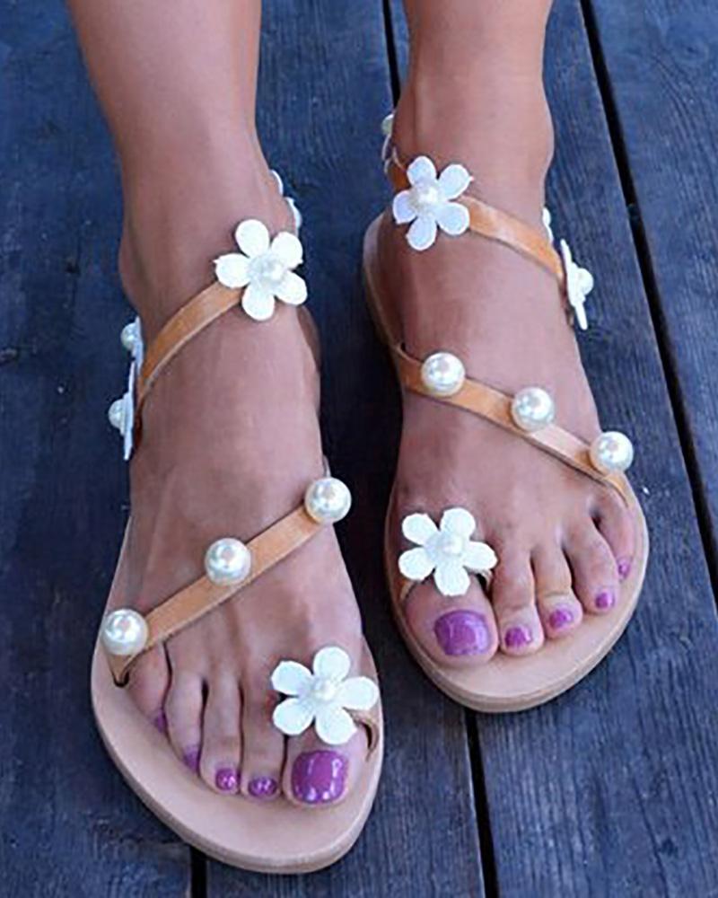 Flower Embellished Toe Ring Beaded Flat Sandals