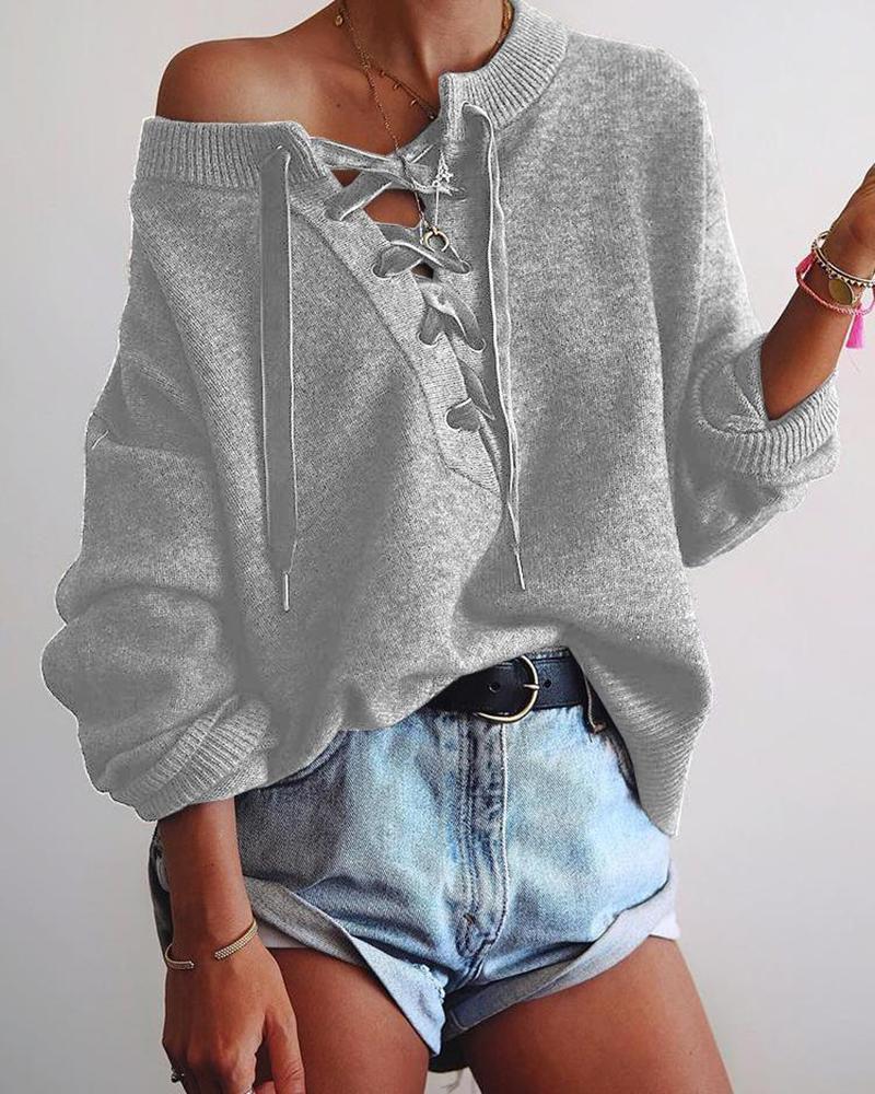 Solid Eyelet Lace-Up Elastic Hem Sweater фото