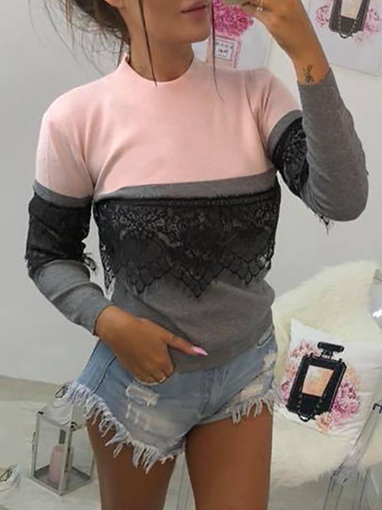 Contrast Color Eyelash Lace Insert Sweatshirt фото