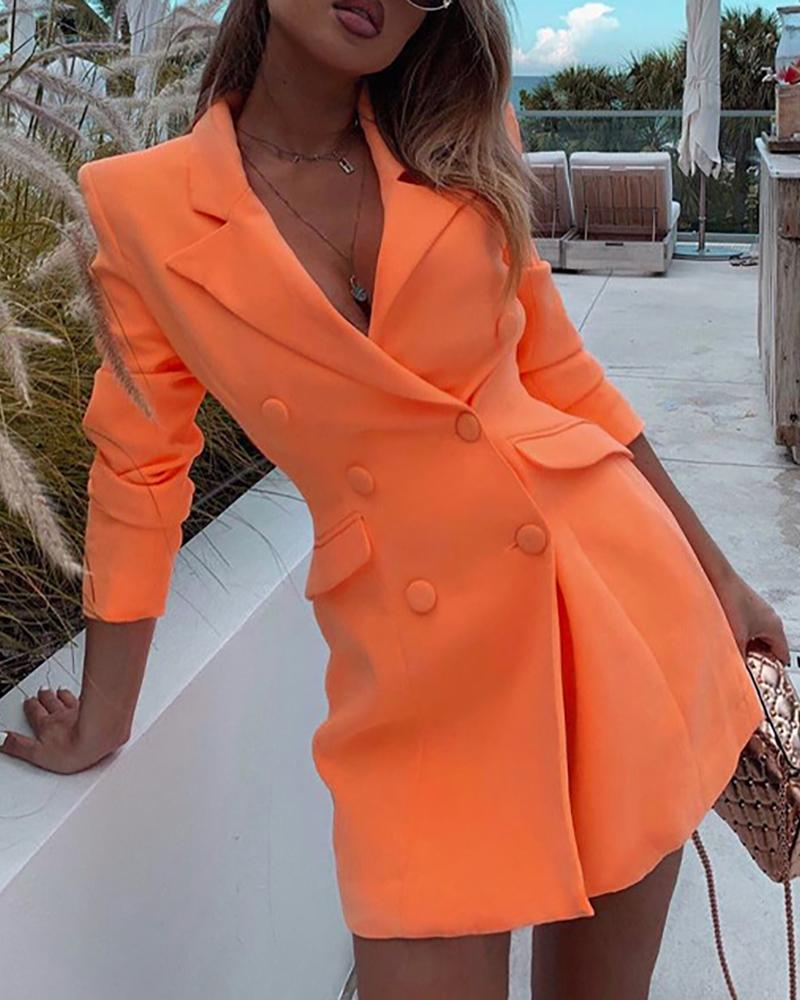 ivrose / Solid Notched Collar Long Sleeve Double-breasted Blazer Dress