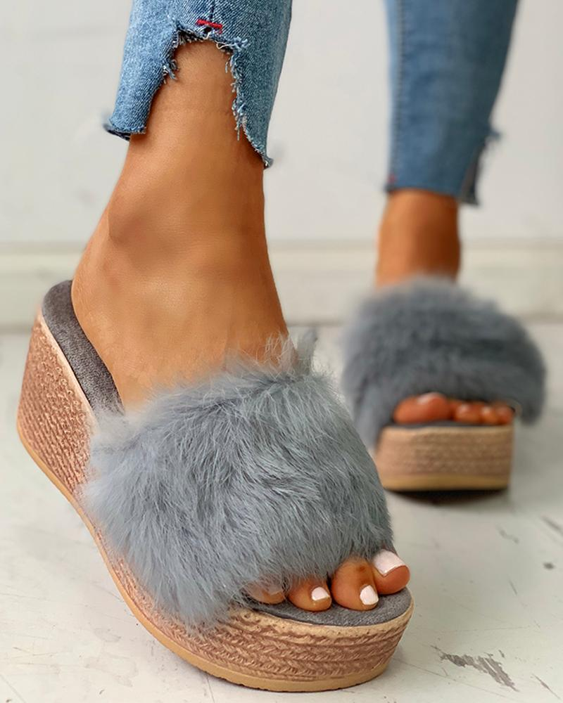 Fluffy Platform Wedge Heeled Sandals, Gray