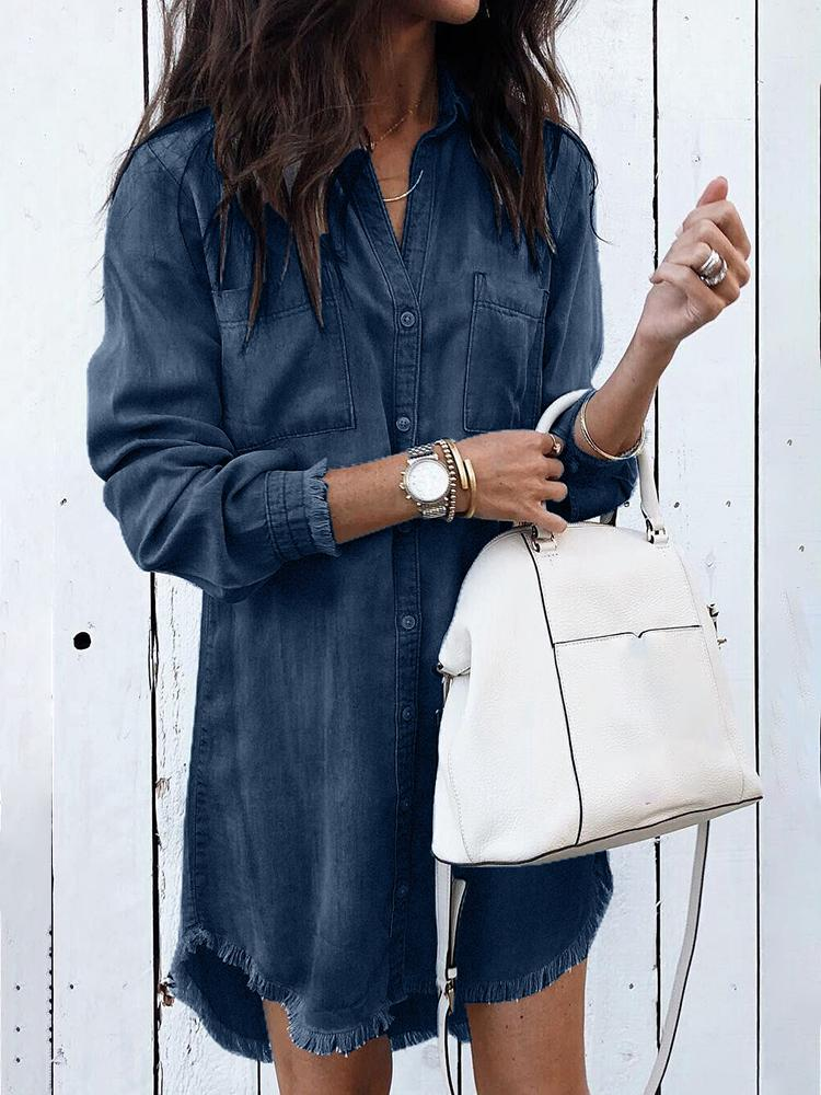 Denim Frayed Hem Long Sleeve Shirt Dress фото