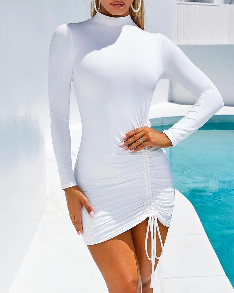 boutiquefeel / Vestido acanalado de manga larga con diseño de cordón sólido