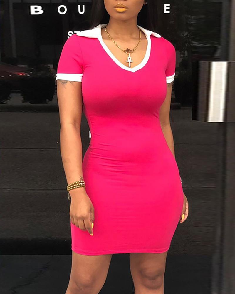 U-Neck Short Sleeve Mini Dress