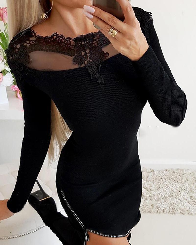 chicme / Vestido con cremallera y cuello de encaje liso