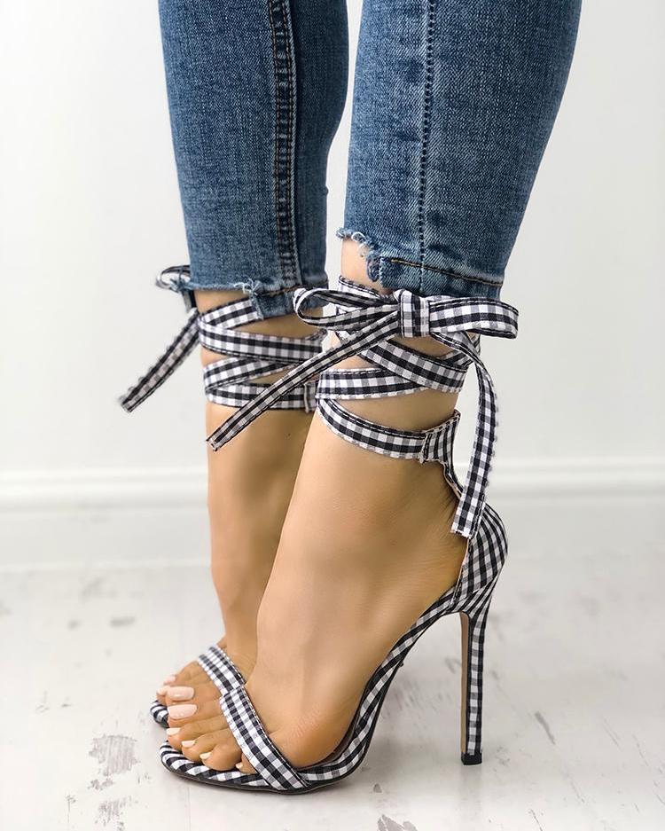 joyshoetique / Single Strap Peep-toe Lace Up Summer Sandals
