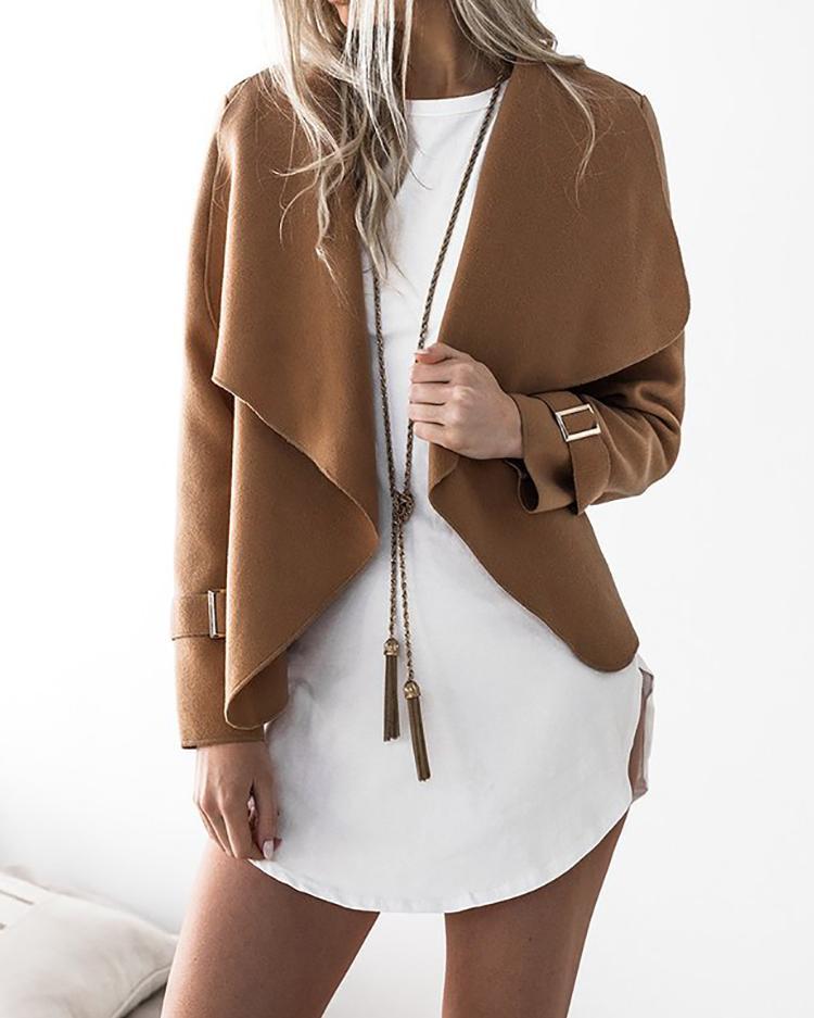 Stylish Solid Casual Cardigan Coat - Khaki
