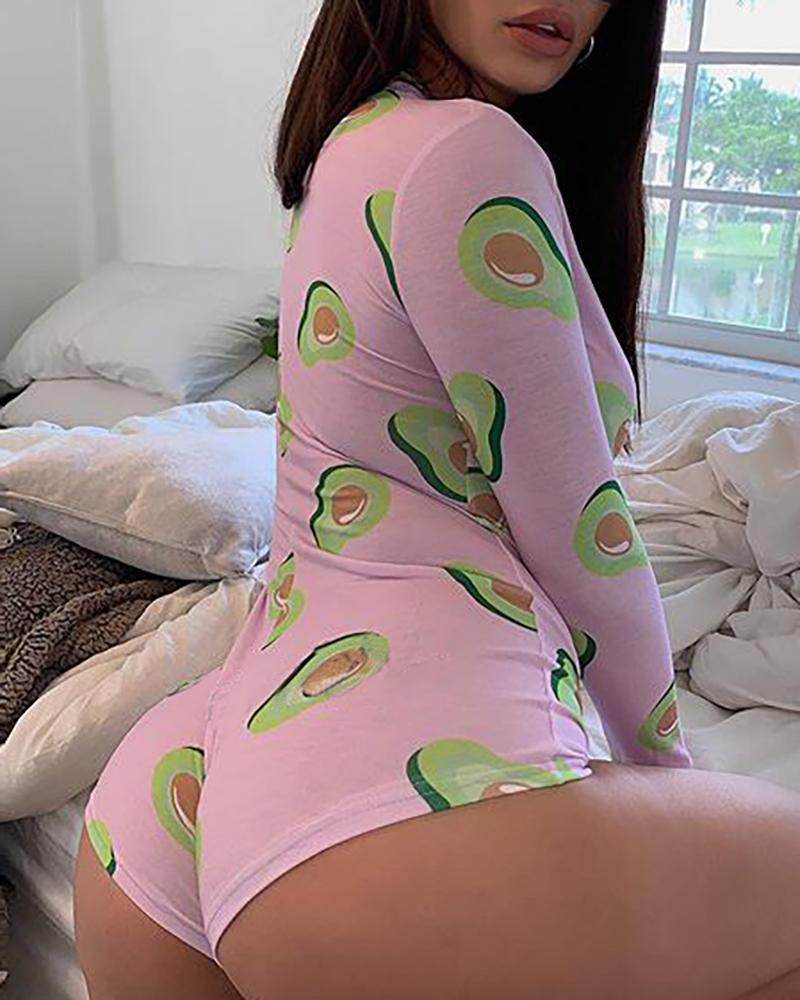 Long Sleeve Avocado Print Lounge Romper фото