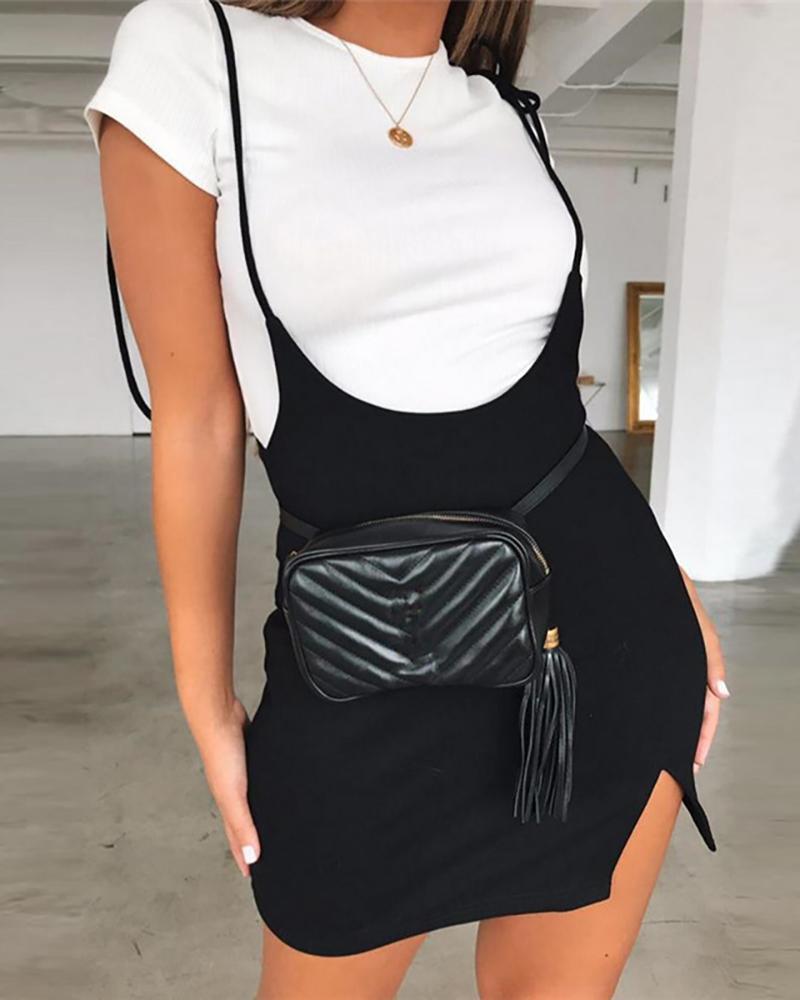 boutiquefeel / Falda con abertura y detalle de tiras con tirantes finos