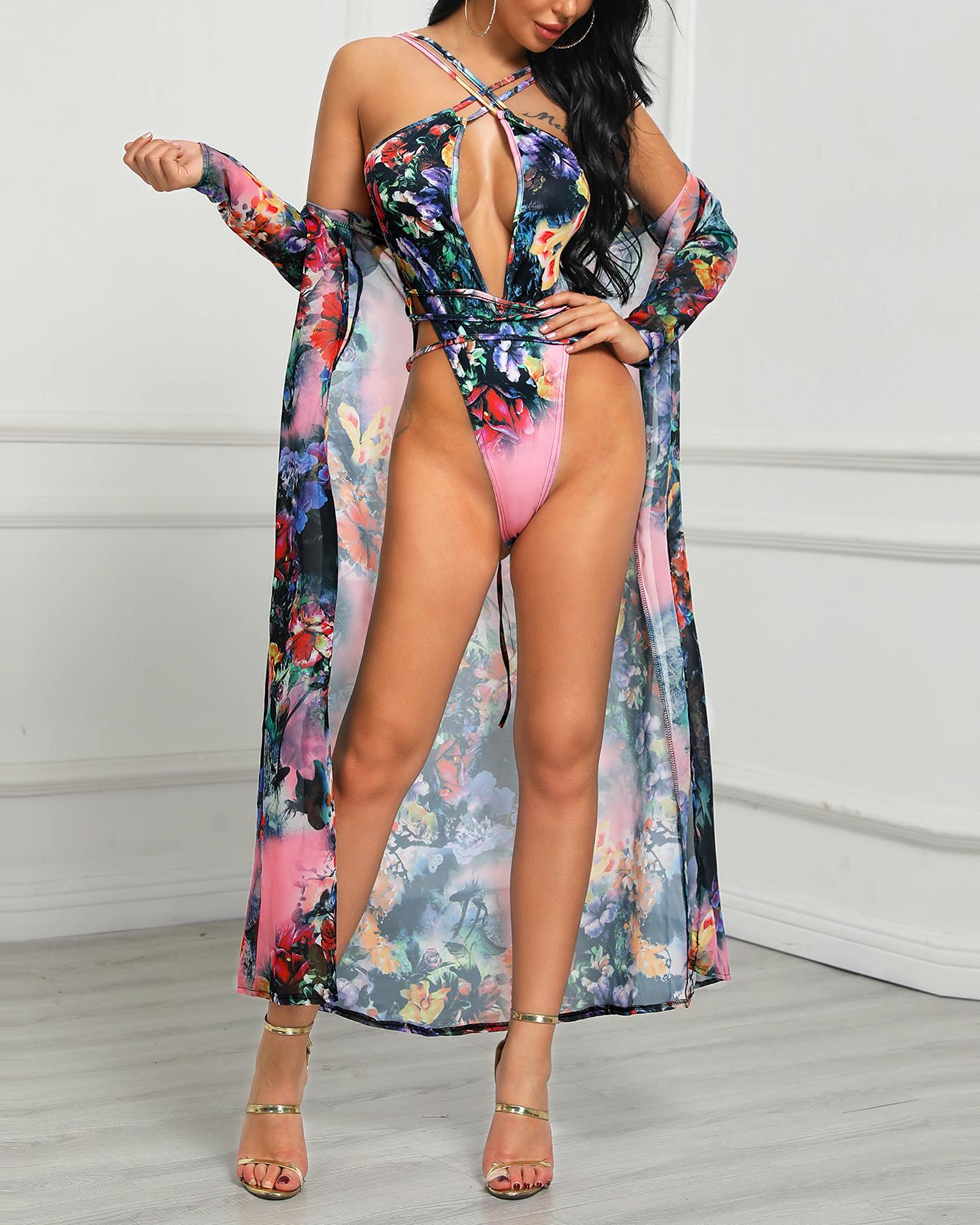 Floral Crisscross Bandage Monokini & Cover Up Set