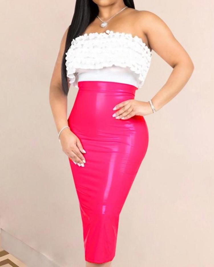 High Waist Zipper Back PU Slinky Skirt