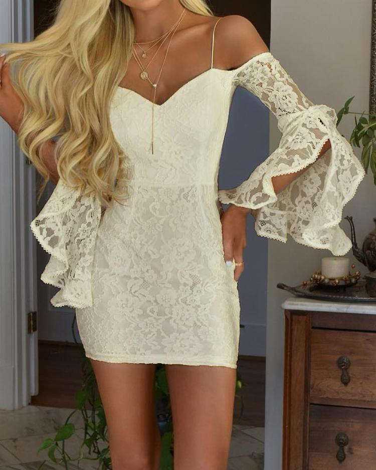 Sexy Ruffled Sleeve Off Shoulder Lace Dress ivrose фото
